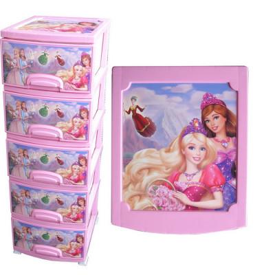 Комод ДЕКОР 4 ярус Принцесса розовый В95*Ш38*Г47