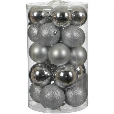 Набор елочных украшений Т558 Серебро Шары 4см*16шт, 6см*20шт