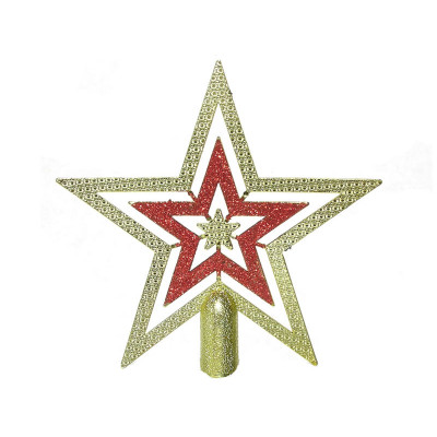 Макушка Т007 Звезда 20см золот/красн, плоская