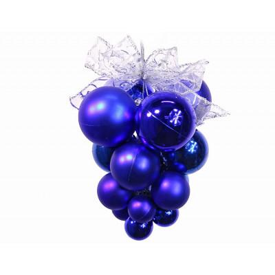 Подвеска из шаров Т035-1 Виноград сред 20см Сереб-Синий