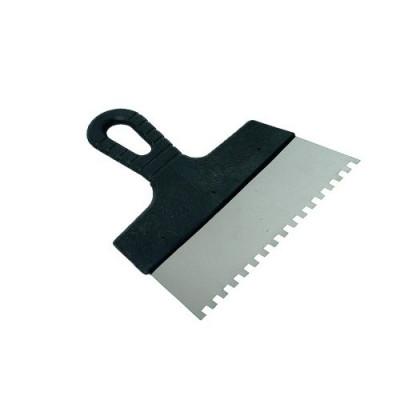 Шпатель из нержавеющей стали, 150 мм, зуб 8*8мм, пластмассовая ручка // СИБРТЕХ