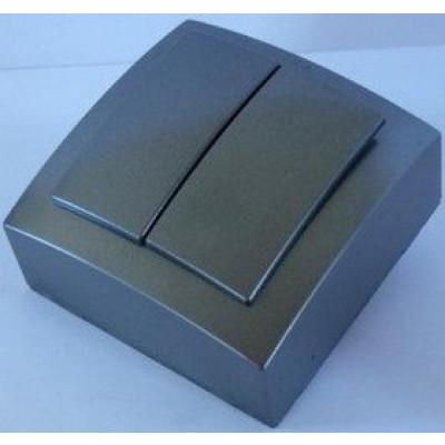 Выкл. серебро о/п 2кл. NILSON THEME